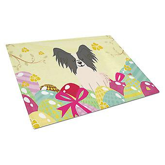 Easter Eggs Papillon Black White Glass Cutting Board Large