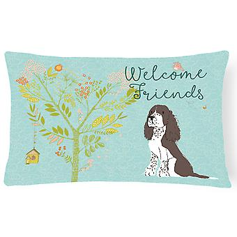 Welcome Friends Brown Springer Spaniel Canvas Fabric Decorative Pillow
