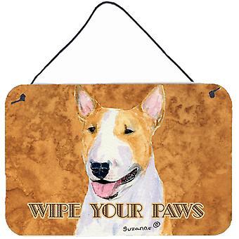 Bull Terrier Wipe your Paws Aluminium Metal Wall or Door Hanging Prints