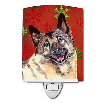 Norwegian Elkhound Red and Green Snowflakes Holiday Christmas Ceramic Night Ligh