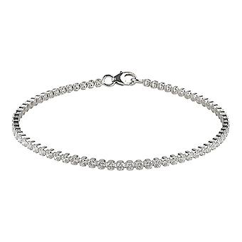 Fine Sterling Silver 925 Womens Tennis Bracelet with Shining Swarovski White Cubic Zirconia Stones