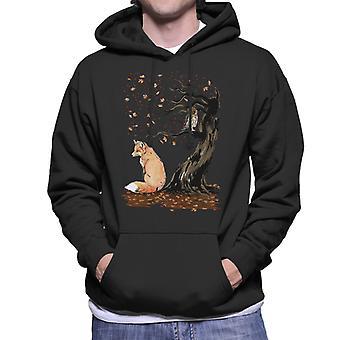 Animals Winds Of Autumn Fox And Owl Men's Hooded Sweatshirt