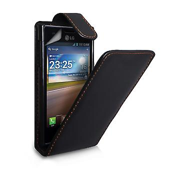 Yousave tilbehør LG Optimus L5 læder-effekt Flip Case - sort