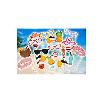 Tilbehør tropiske photo booth indstille flamingo