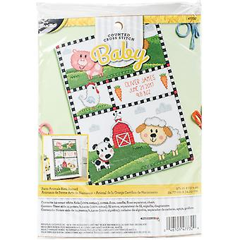 Farm Animals Birth Record Counted Cross Stitch Kit-10.5