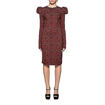 Pinko women's 1G12UQ6541RZB black/red rayon dress