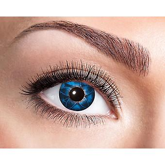Natural contact lens blue with floral ornaments