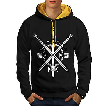 Triple Sword Geek Men Black (Gold Hood)Contrast Hoodie | Wellcoda