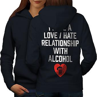 Love Hate Alcohol Funny Women NavyHoodie Back | Wellcoda