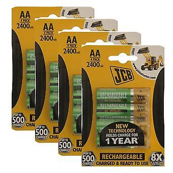 16 x JCB 2400mAh AA batterie ricaricabili HR6 addebitato e pronto per l'uso