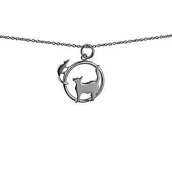 Sølv 20x17mm kat ser venstre og mus i en cirkel vedhæng med rolo kæde 14 inches kun egnet for børn