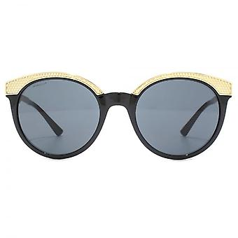 Versace Metal Brow Details Round Sunglasses In Black