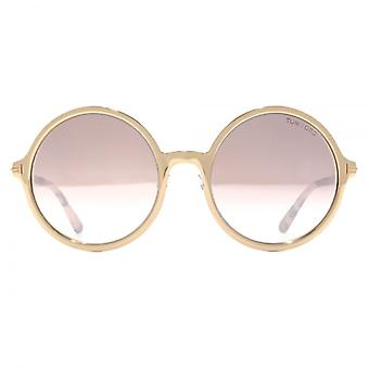 Tom Ford Ava 02 Sunglasses In Shiny Rose Gold Pink Gradient
