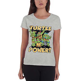 Teenage Mutant Ninja Turtle T Shirt Turtle Power Official Womens Grey Skinny Fit