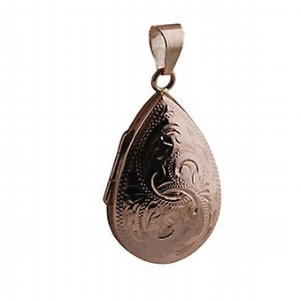 9ct Rose Gold 30x20mm hand engraved teardrop Locket