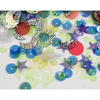 20g Assorted Transparent Sequins with Holes for Pins | Sequin Craft Supplies