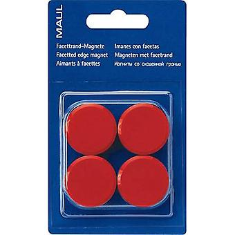 Maul Magnet (Ø x H) 30 mm x 10 mm Facet edge, round Red 4 pc(s) 6177225