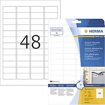 Herma 9531 Labels (A4) 45.7 x 21.2 mm PE film White 480 pc(s) Permanent All-purpose labels, Weatherproof labels