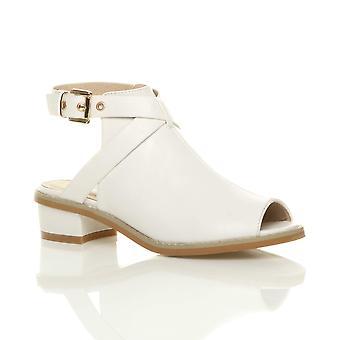 Ajvani dame lav midten af blok hæl peep toe spænde ankel rem sandaler sko