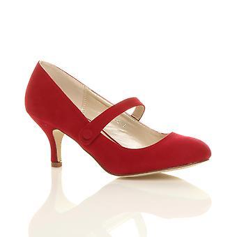 Womens Ajvani bas mi talon mary jane sangle travailler pompes à chaussures parti Cour