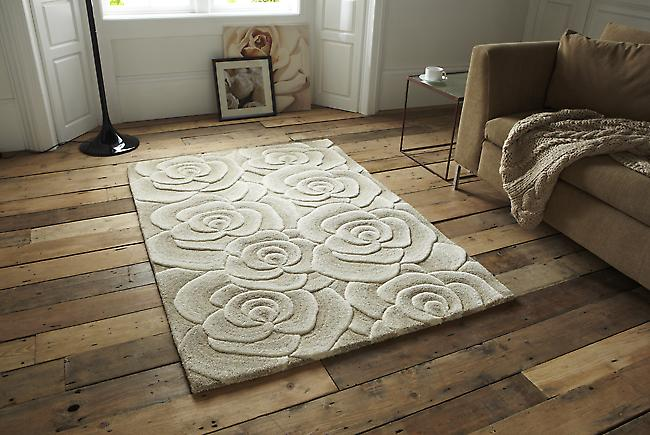 Valentine VL 10 Beige Self coloured rose design in shades of beige Rectangle Rugs Modern Rugs