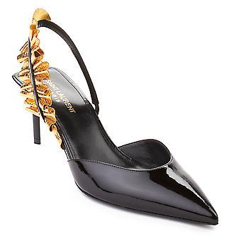 Saint Laurent Women's Edie Slingback Patent Leather High Heel Shoes Black