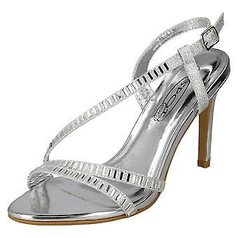 Spot damskie na obcasie Diamante sandały F10839 - srebrny włókienniczych - UK rozmiar 8 - UE rozmiar 41 - USA rozmiar 10