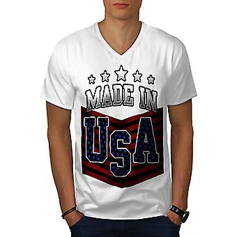 Made in USA Männer WhiteV-Neck T-shirt   Wellcoda