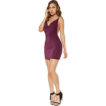 Roma RM-3350 Cowl Neck Mini Dress with Low Back Detail