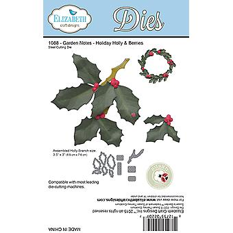 Elizabeth Craft Metal Die-Garden Notes-Holiday Holly & Berries