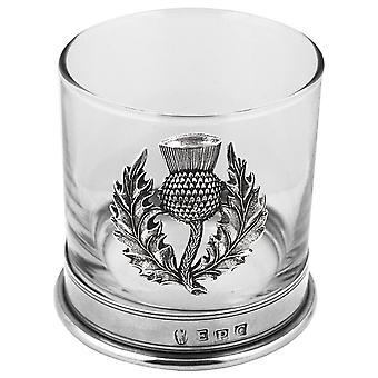 Scottish Thistle Pewter Whisky Glass Single Tumbler