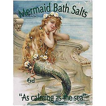 Mermaid Bath Salts Large Steel Sign 400Mm X 300Mm