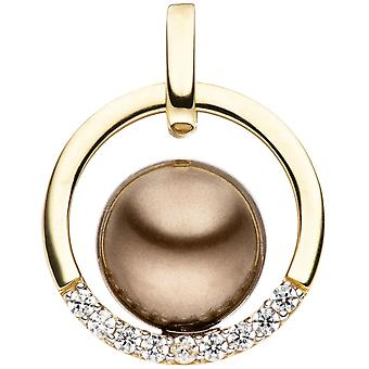 Pendant bicolor 333 gold yellow gold with dark Pearl and cubic zirconia beads pendant