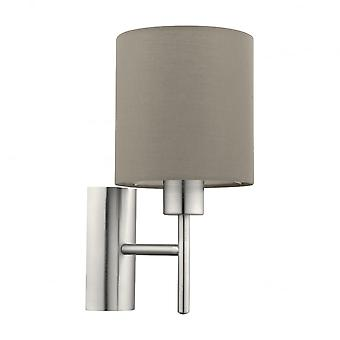 Eglo Pasteri Bedside Wall Sconce With Taupe Drum Shade