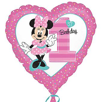 Anagram 18in Minnie Mouse 1st Birthday Heart Foil Balloon