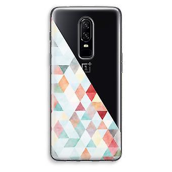 OnePlus 6 Transparent Case (Soft) - Coloured triangles pastel