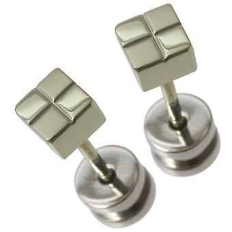 Ti2 Titanium klein vierkant gecontroleerd Stud Oorbellen - groen