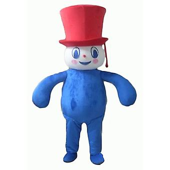 SPOTSOUND of blue, white and red, plump and smiling snowman mascot