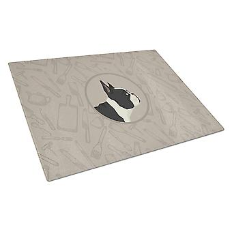 French Bulldog In the Kitchen Glass Cutting Board Large