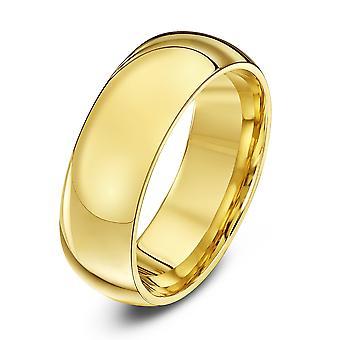Star Wedding Rings 9ct Yellow Gold Heavy Court Shape 7mm Wedding Ring