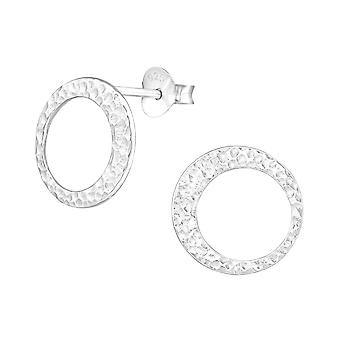 Circle - 925 Sterling Silver Plain Ear Studs - W37322x