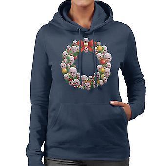 Christmas Wreath Multi Pope Francis Women's Hooded Sweatshirt