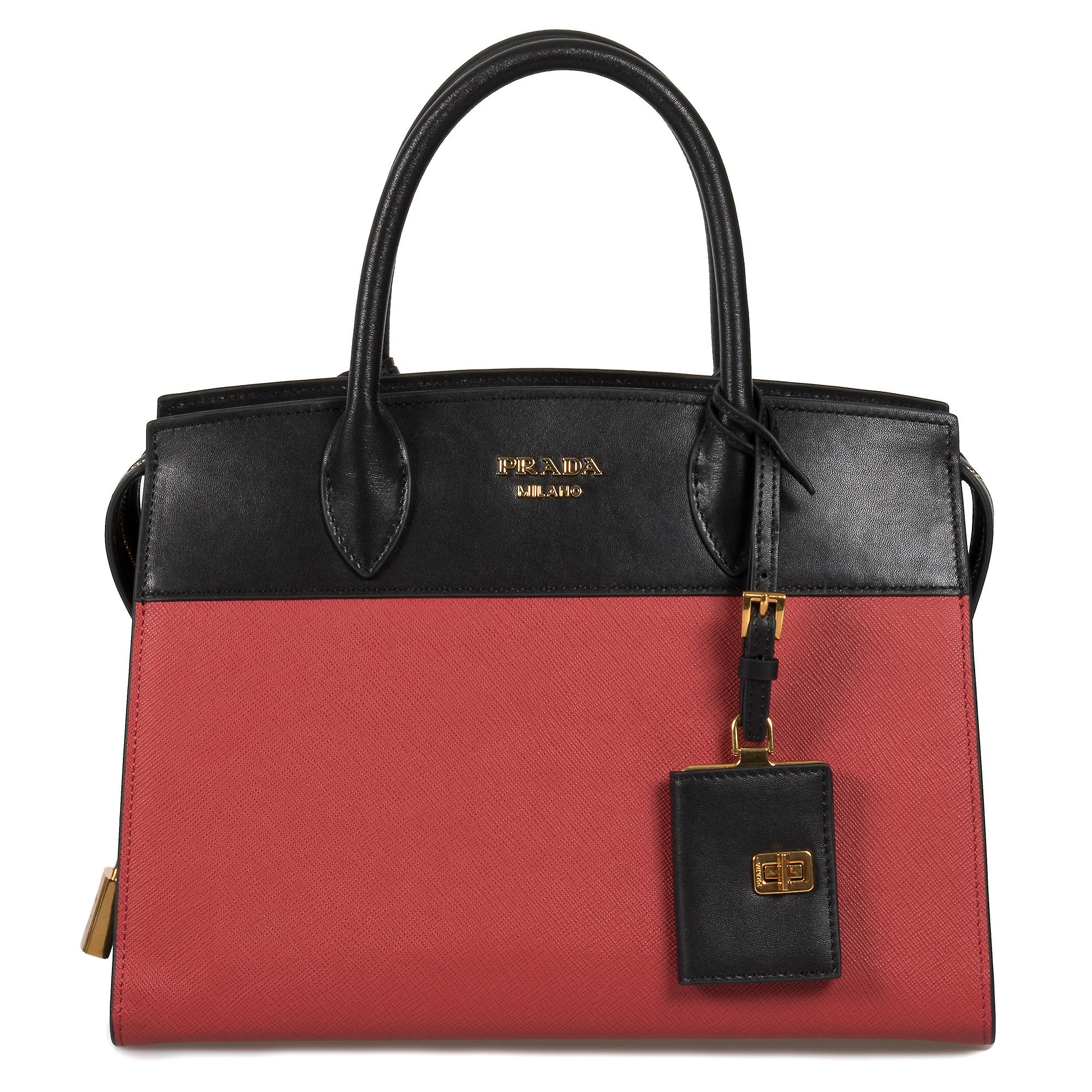 Prada Esplanade Leather Tote In rouge and noir