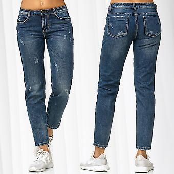 Ladie's Boyfriend Style Jeans Pants Ripped Jeans Destroyed Trousers Used Washed