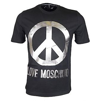 Moschino Cotton Printed Silver Logo Black T-shirt