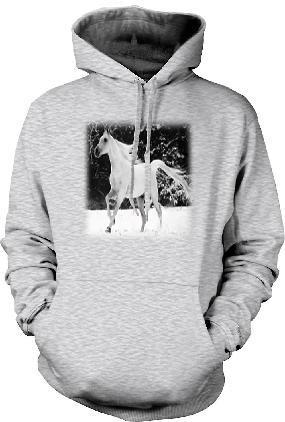 Mens Hoodie - & White Running Horse Design