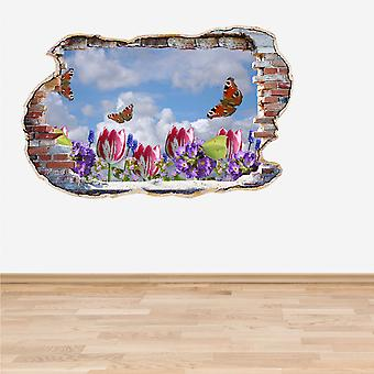 Full Colour Flowers and Butterflies Smashed Wall 3D Effect Wall Sticker