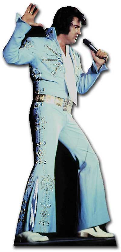 Elvis Zingen dragen blauwe Jumpsuit - Levensgrote Kartonnen Uitsnede / Standee