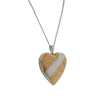 TOC Sterling Silver Two Tone Engraved Heart Locket Necklace 18