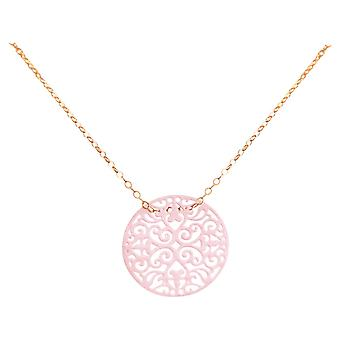 Gemshine necklace Yoga mandala circle high quality gold plated ladies or rose - pink - Powder Rose - pink - quality jewelry made in Spain